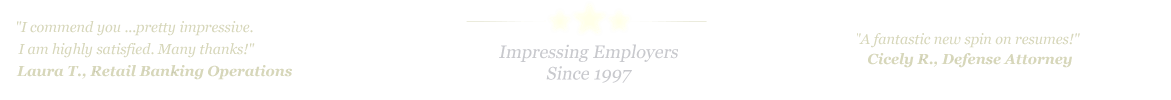 Lubbock Resume Service... IMPRESSING EMPLOYERS SINCE 1997!